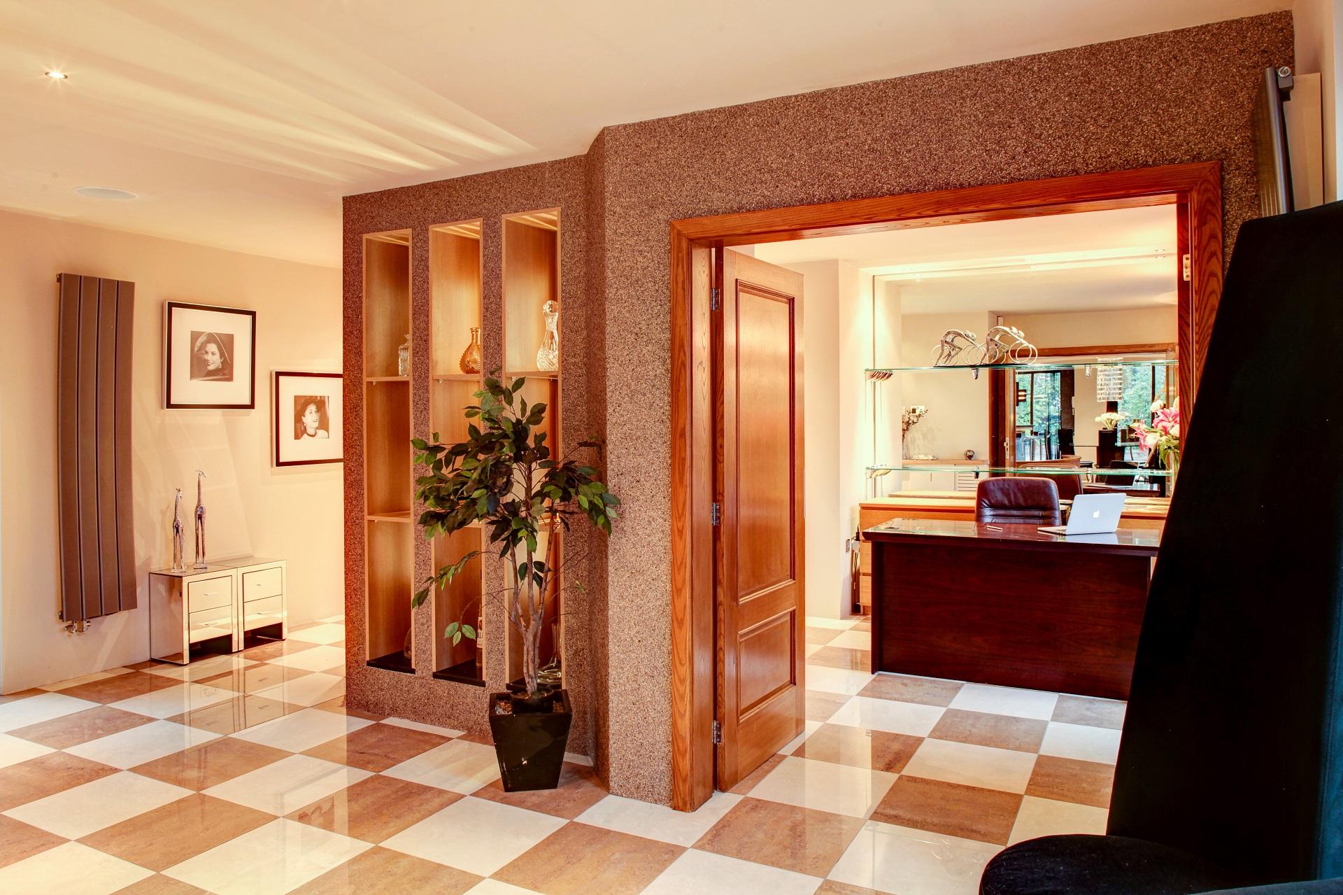 home office, double doors, gold leaf wallpaper, interior design cedar heights nottingham
