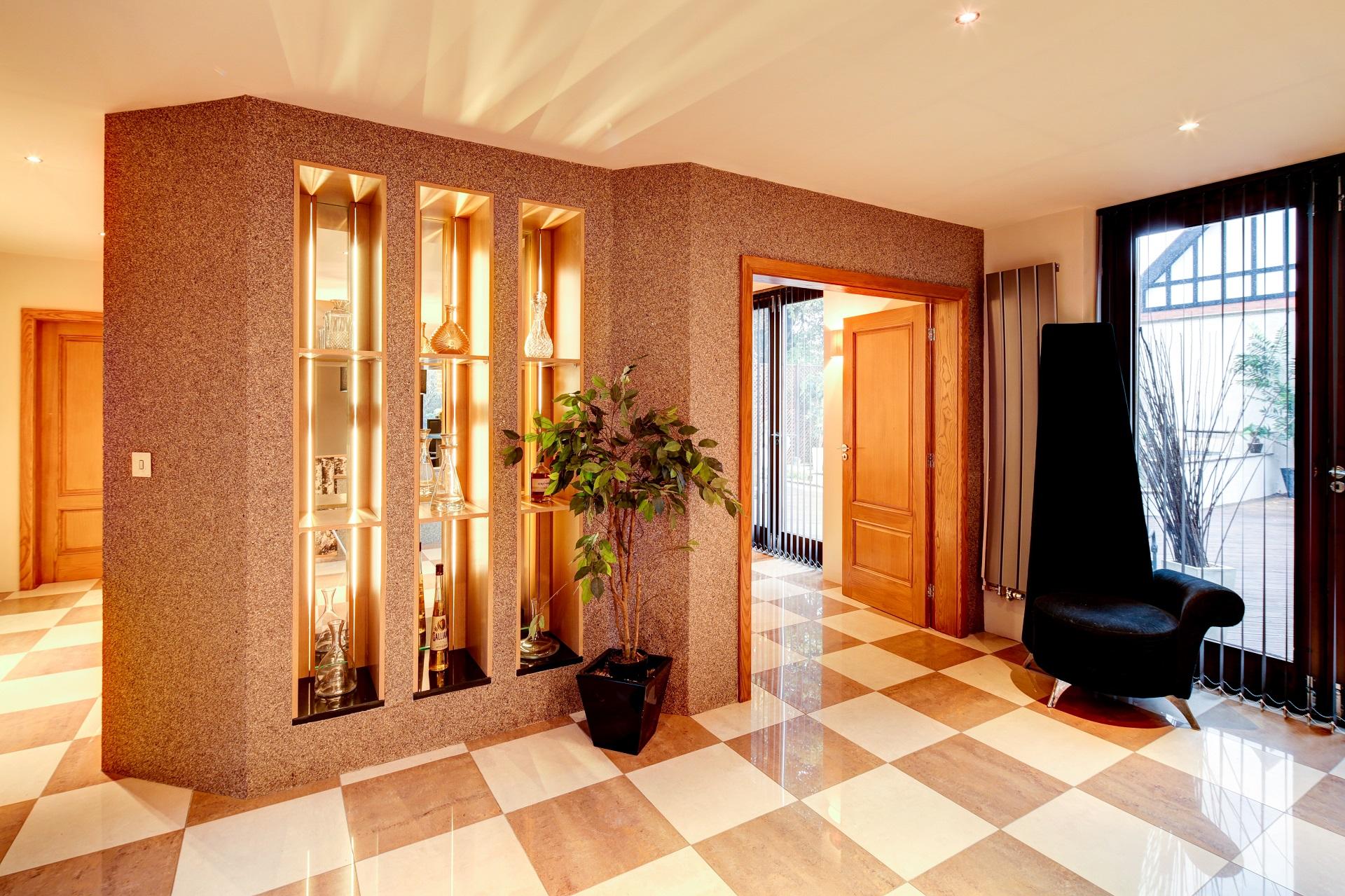 cedar heights Nottingham, gold leaf wallpaper, throne armchair, shelf lighting