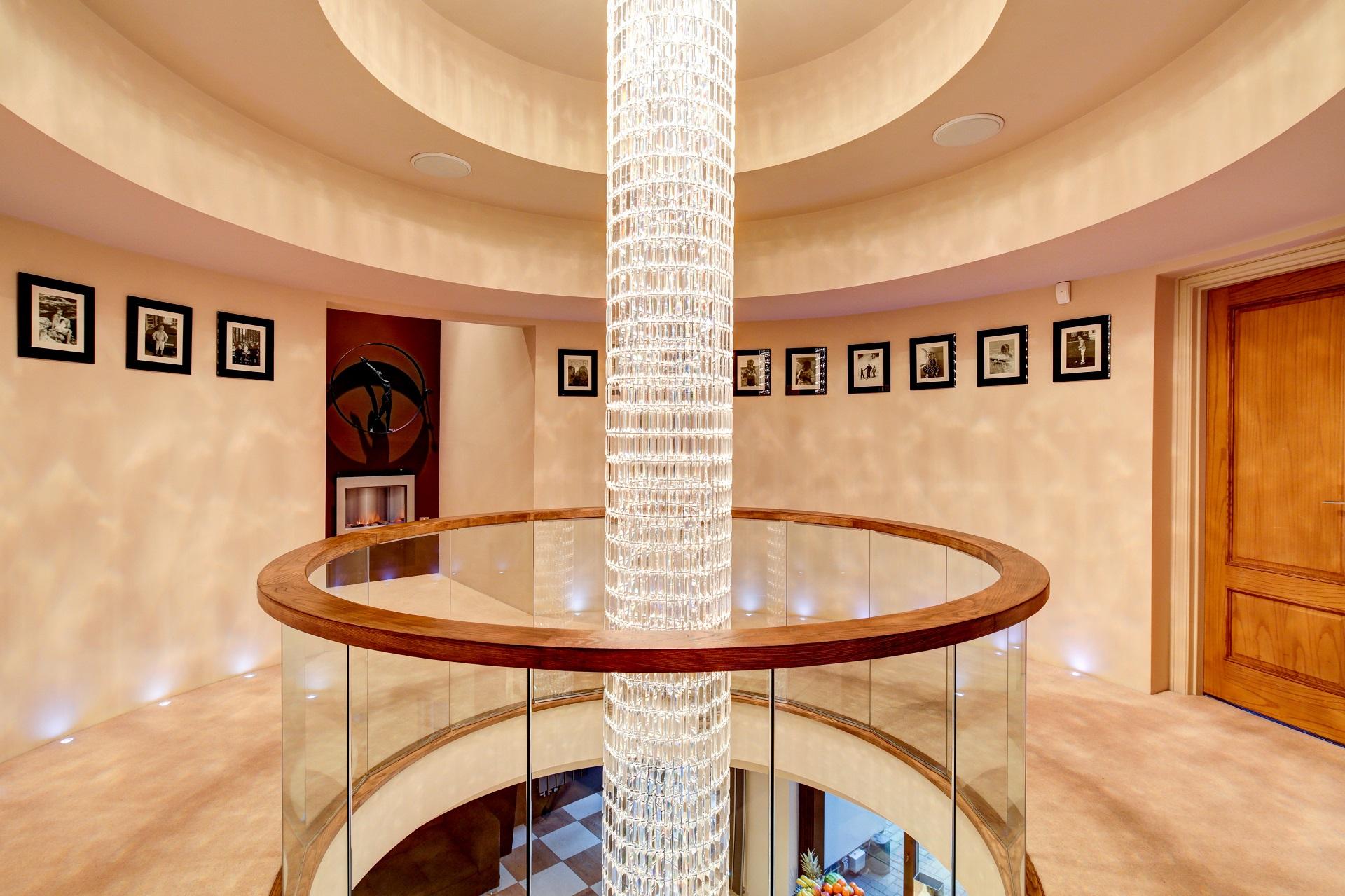 extravagant drop chandelier, luxury home nottingham, Cedar heights, home atrium