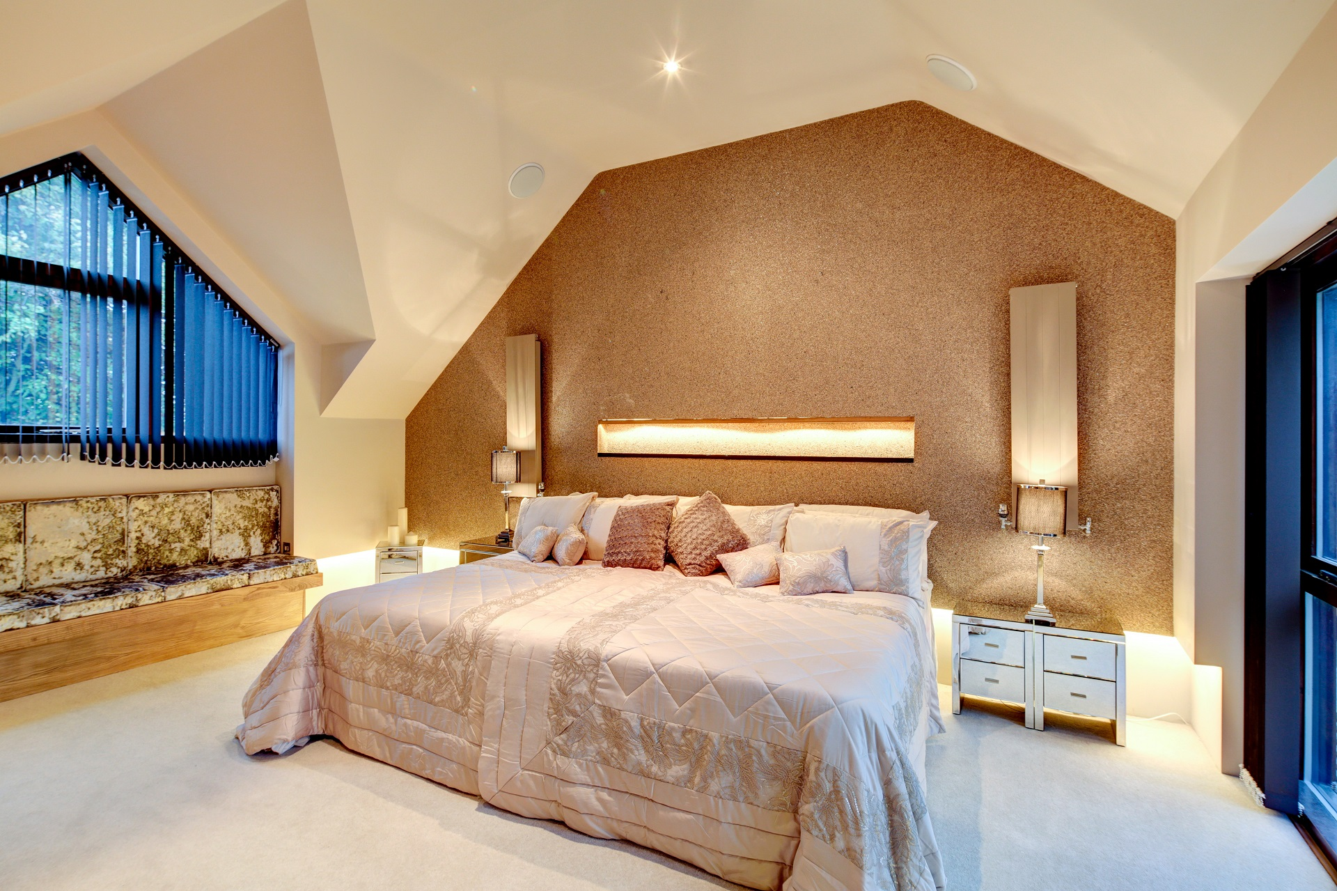 Cedar heights, nottingham, luxury bedroom, gold lead wallpaper, oversized bed, pitched ceiling, luxury home