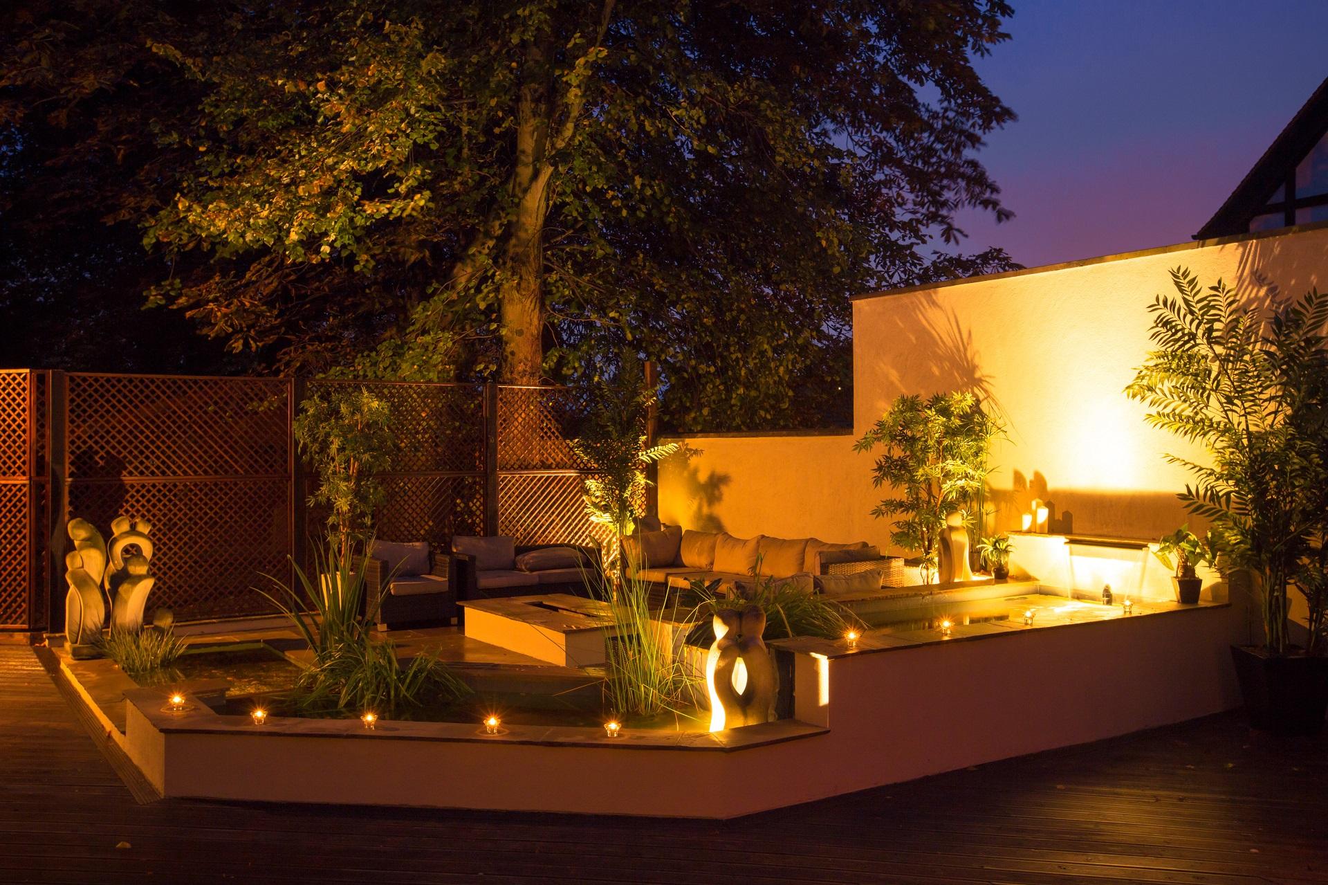 ambient lighting, luxury property design, garden design, courtyard, patio, decking, waterfall