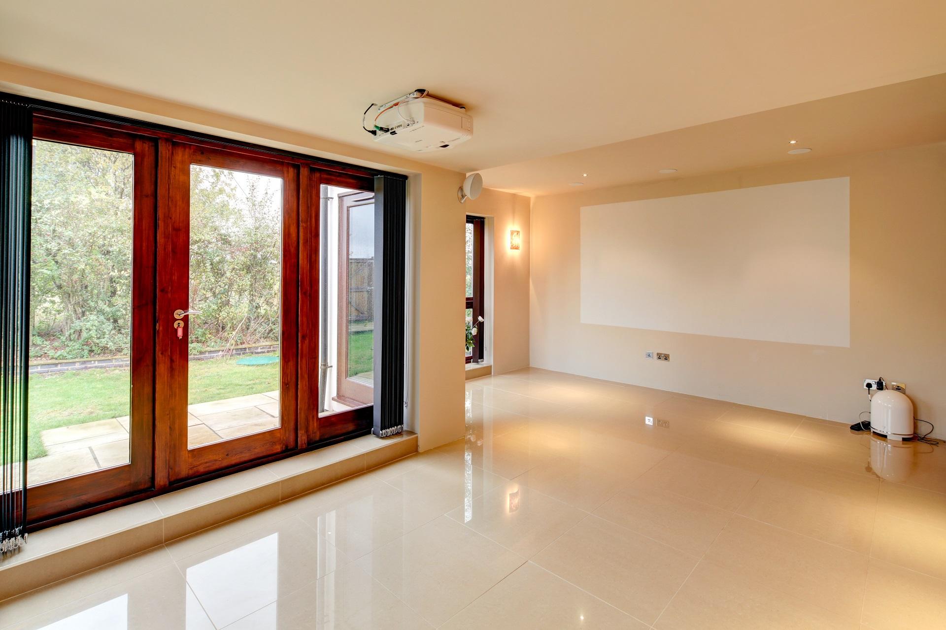luxury design, wall projector, bi-fold doors, nottingham fern hill