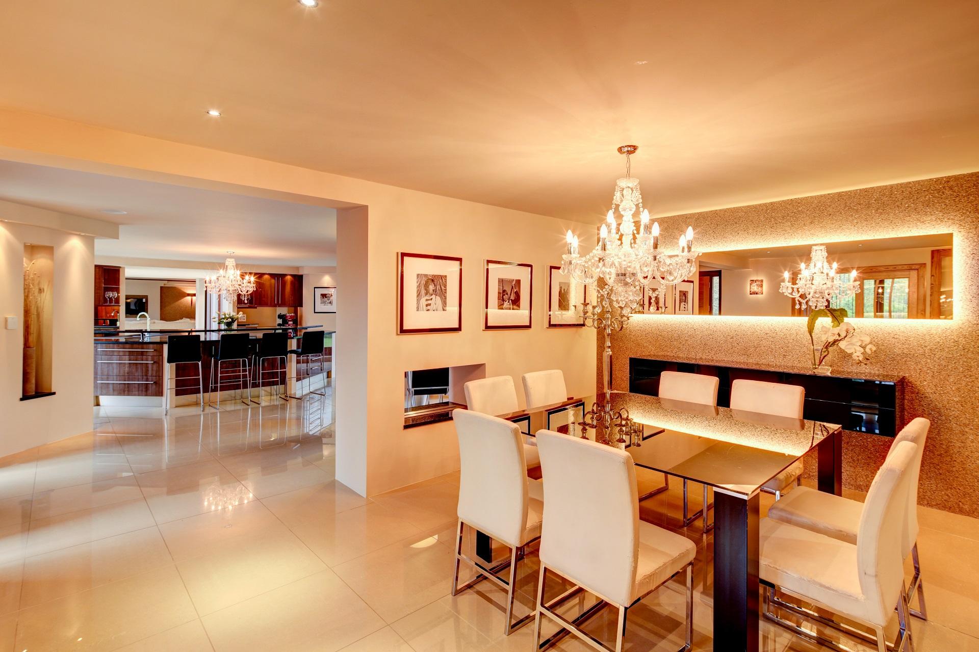 luxury interior, Interior design, dining room, breakfast bar, open plan
