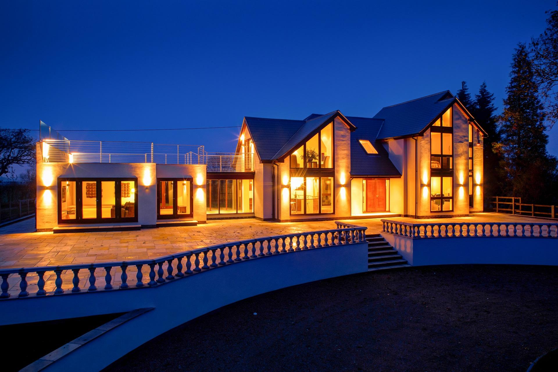 fern hill nottingham, bespoke home, luxury, outdoor lighting