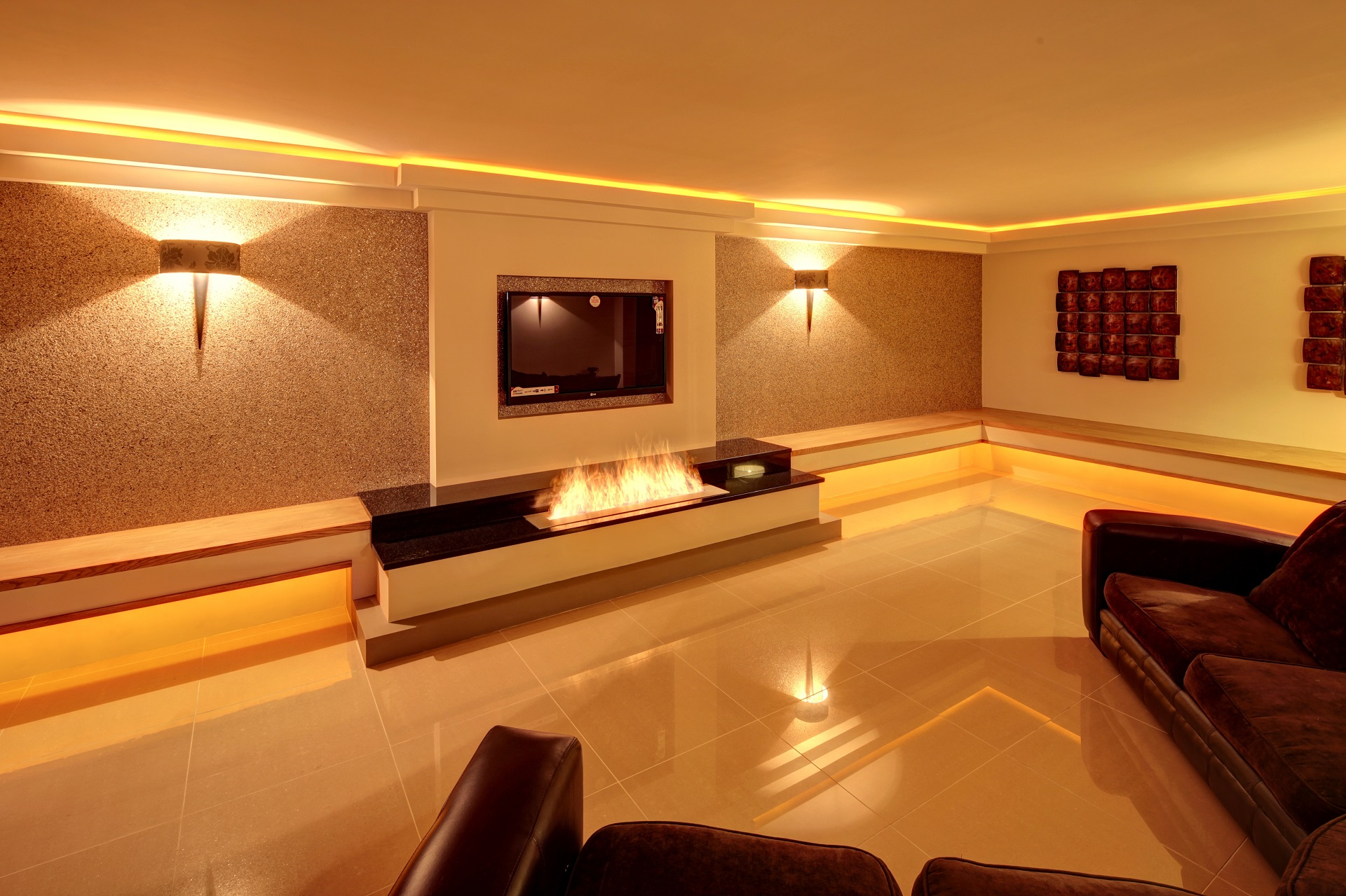 designer living room, shiny tiled floor, gold leaf wallpaper, luxury interior