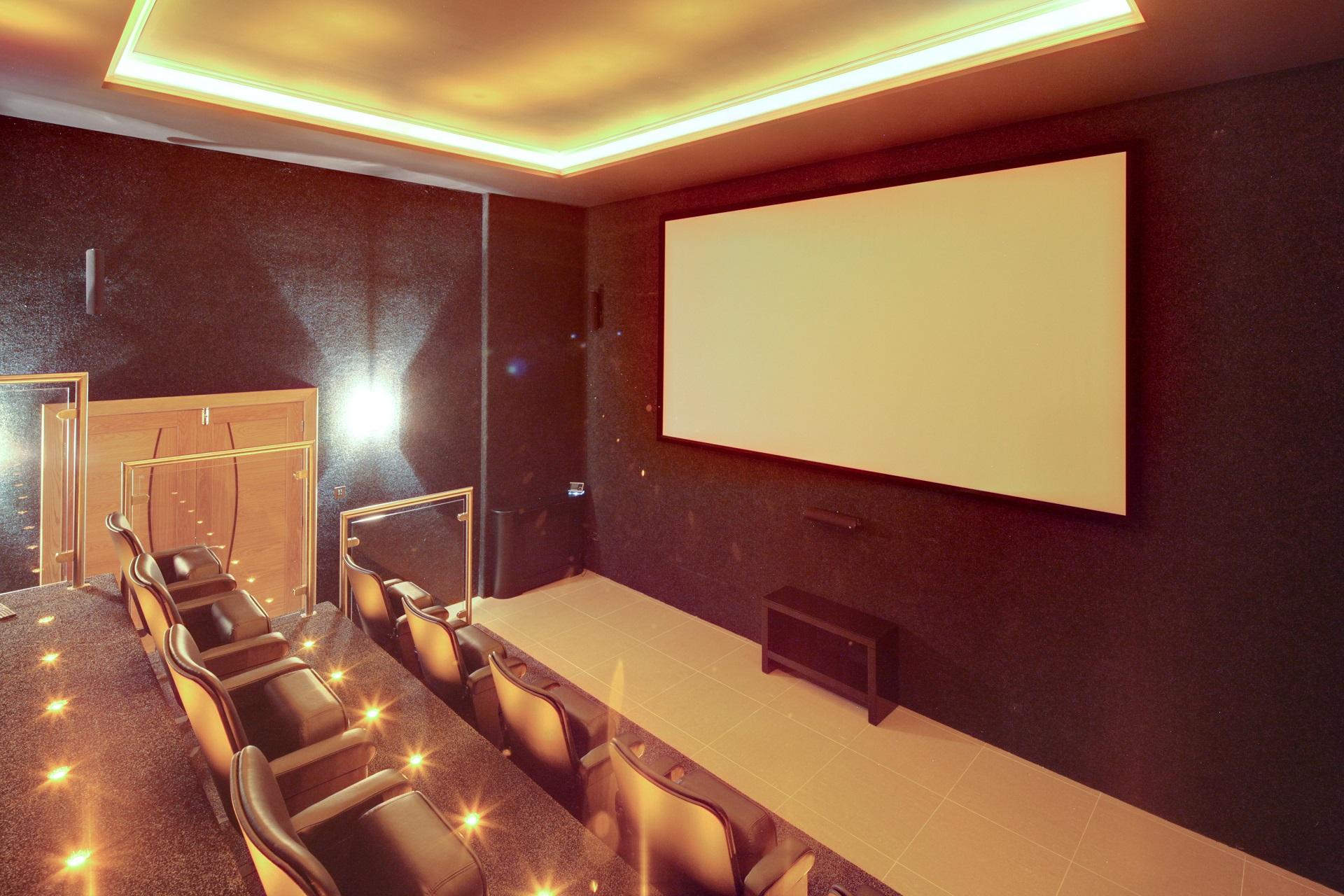 Cinema Room at Hall View, luxury bespoke home by Guy Phoenix