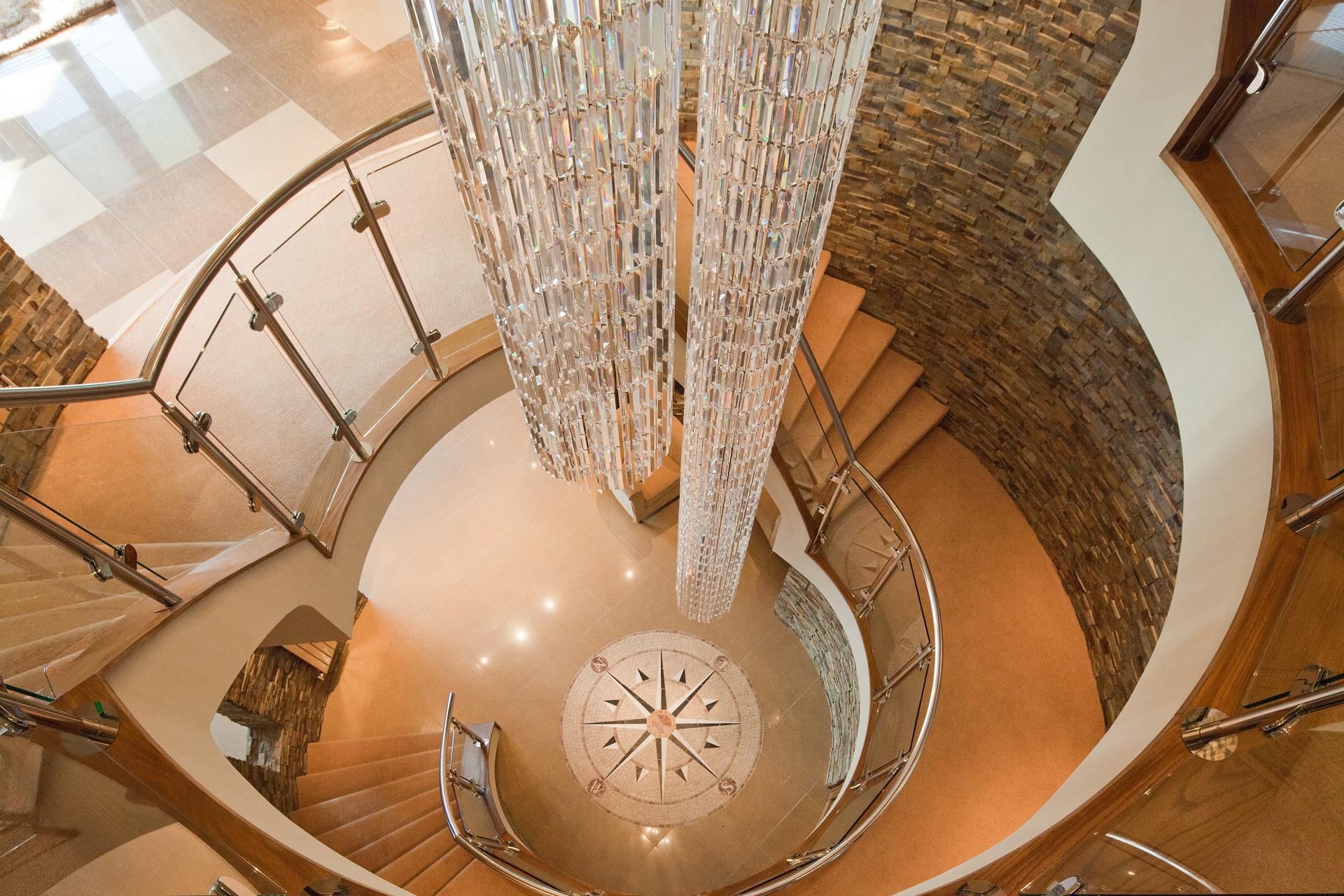Interior design hallway chandelier. Hall View by Guy Phoenix