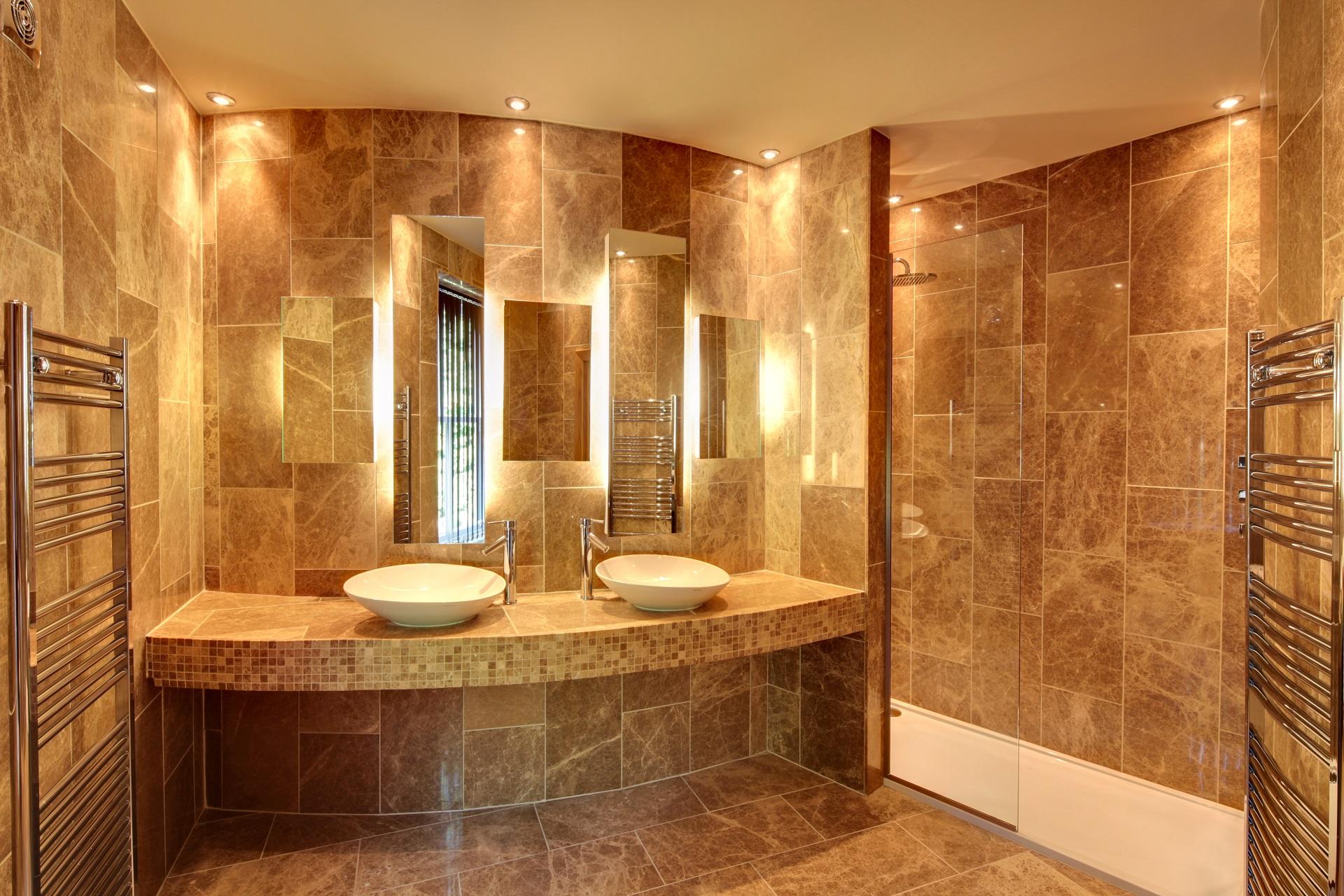 Marble bathroom suite, Hall View luxury development by Guy Phoenix