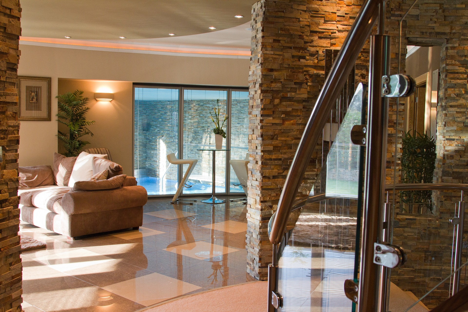 Hall view, swimming pool. Luxury home by Guy Phoenix