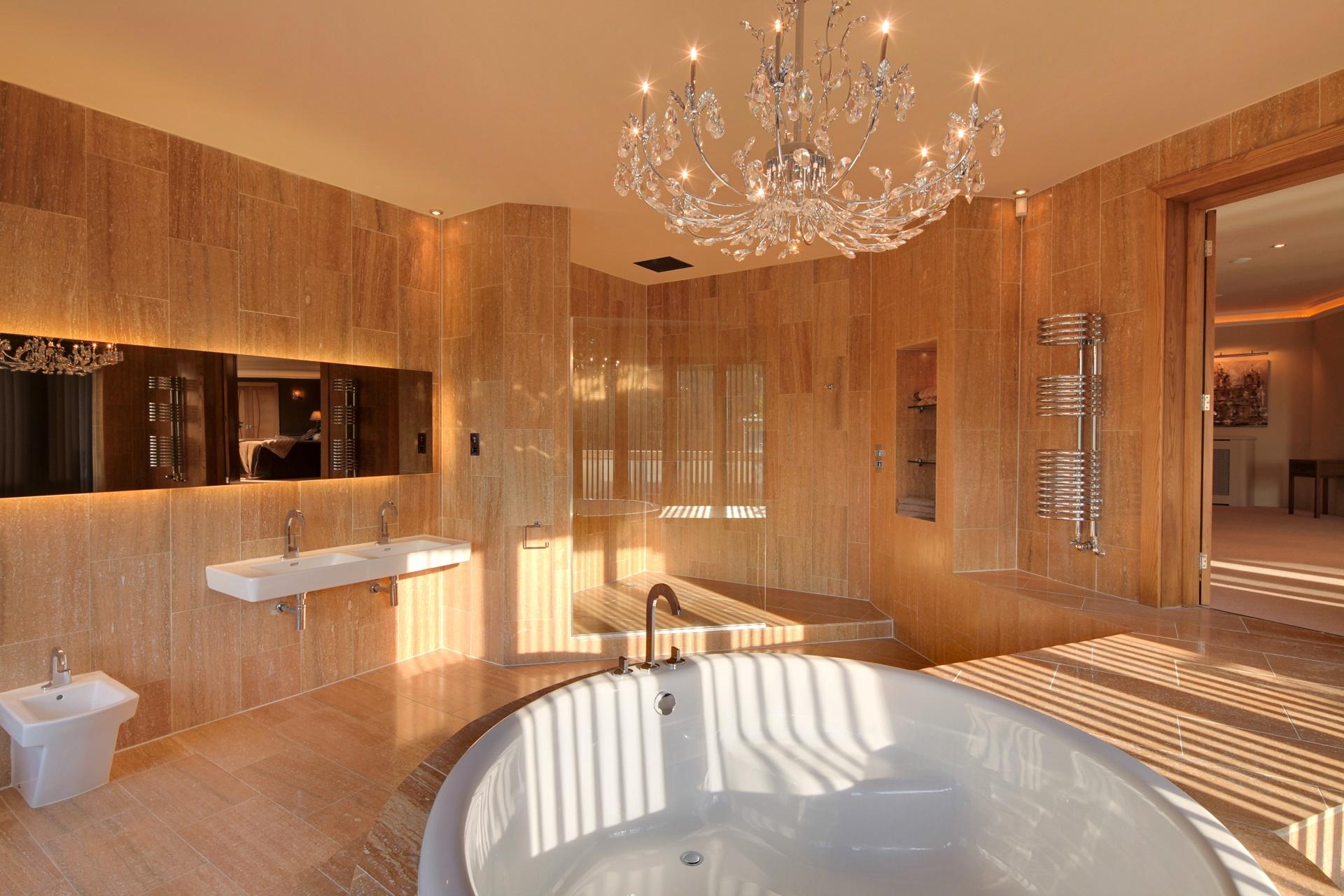 circular, in set bath tub. Hall View by Guy Phoenix