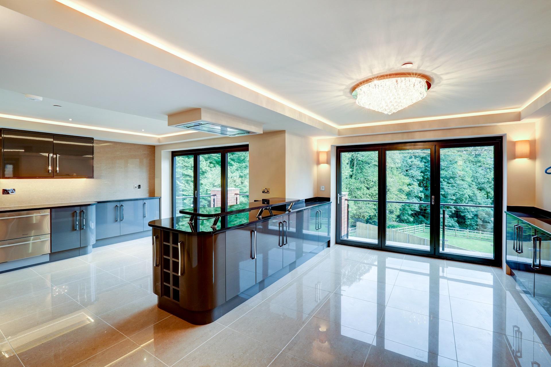 Designer kitchen, luxury home, nottingham. elegant lighting