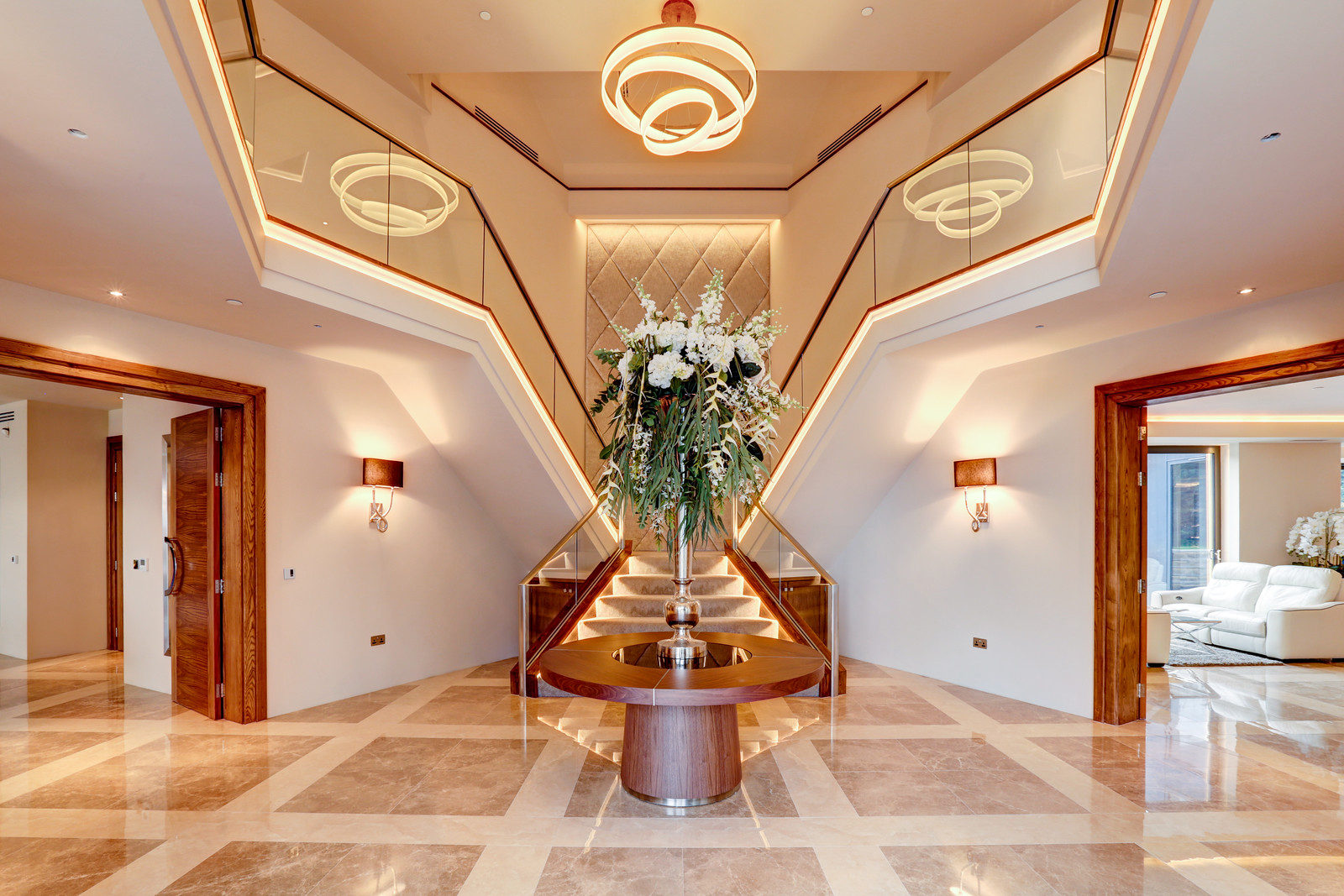 Dramatic entrance hallway, Imperial staircase, Tanglewood, Colston Bassett, Nottingham