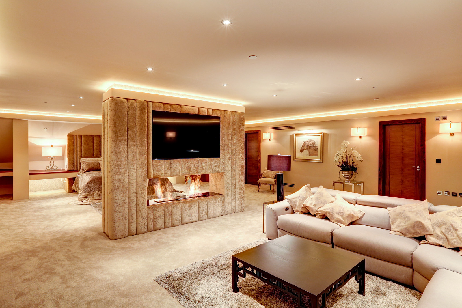 Master suite in Tanglewood. Luxury interiors by Guy Phoenix