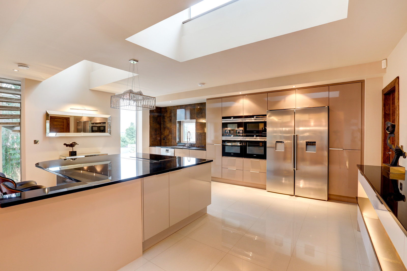 Designer kitchen, Nottingham. The White house with roof lantern by Guy Phoenix