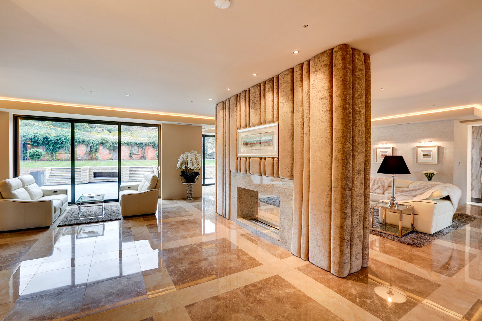 luxurious interior, open plan lounge, polished marble floor. Tanglewood Nottingham
