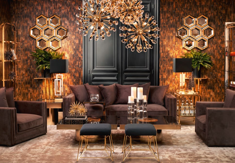 brown and gold room design by Eicholtz