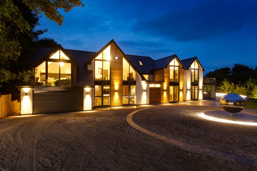 Luxury bespoke home at dusk