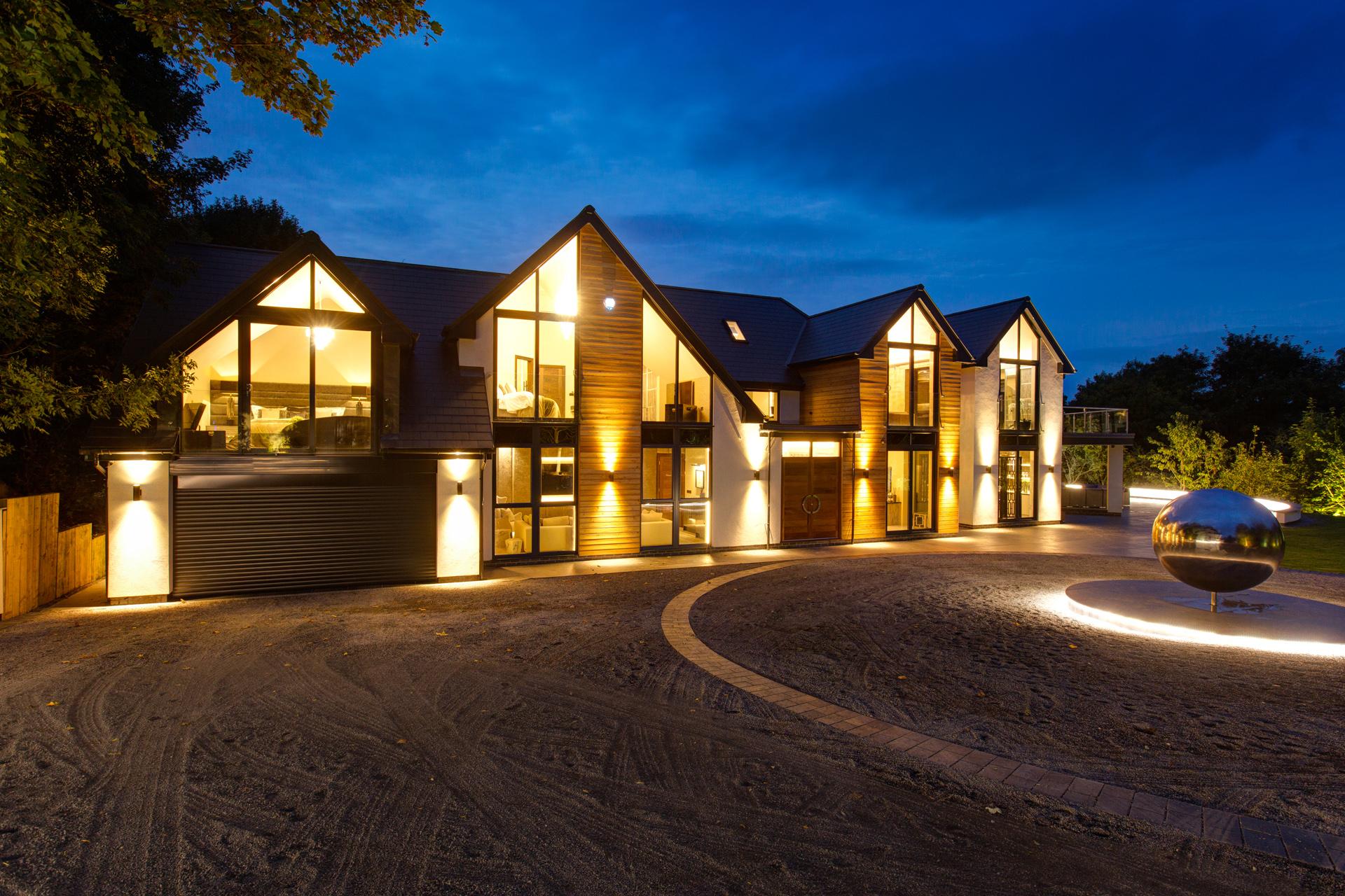 Luxury bespoke home at dusk