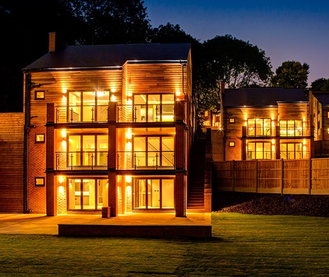 Luxury property development at night