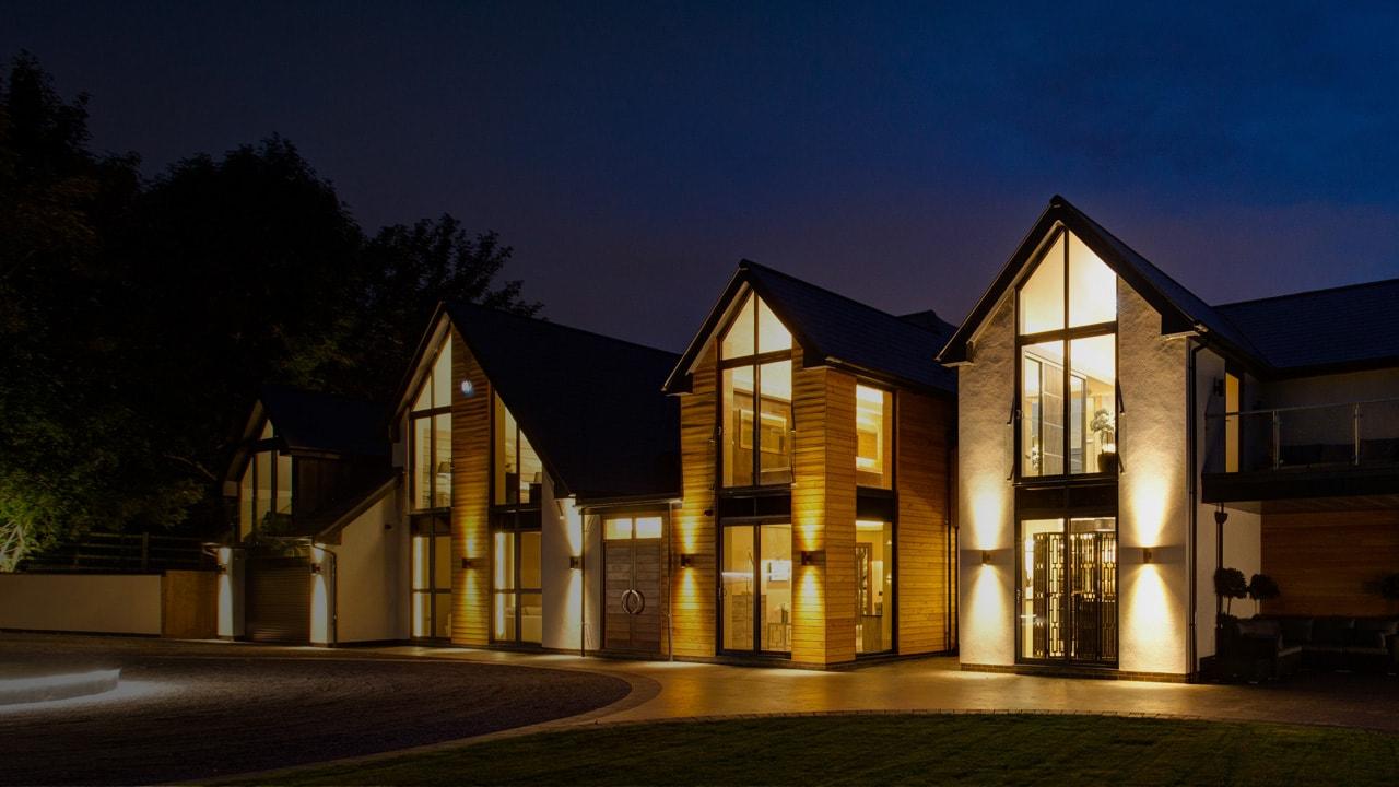 Luxury, imposing property at dusk