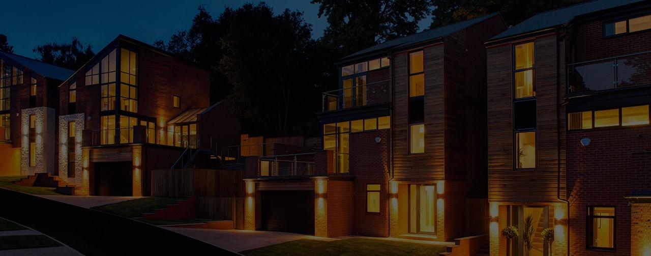 Luxury housing development at night