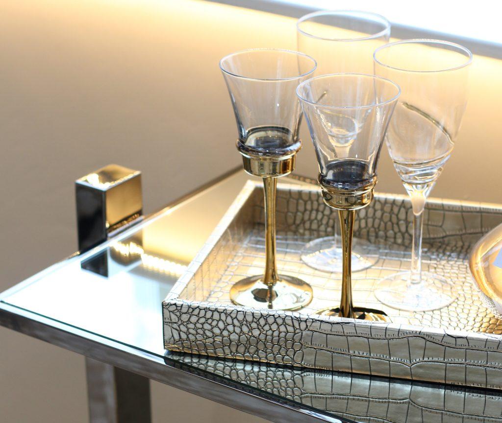 Wine glasses on side table