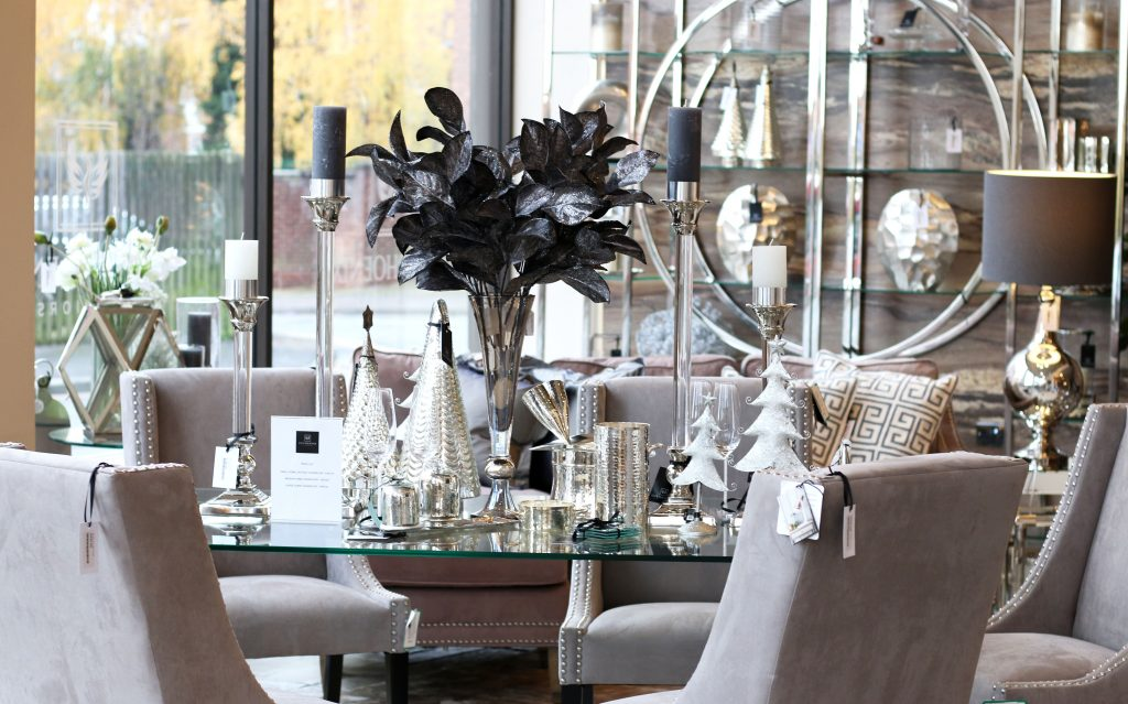 Dining Room arrangement with table and chairs, Christmas centrepiece