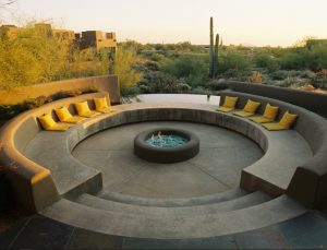 Circular sunken fire pit with seating